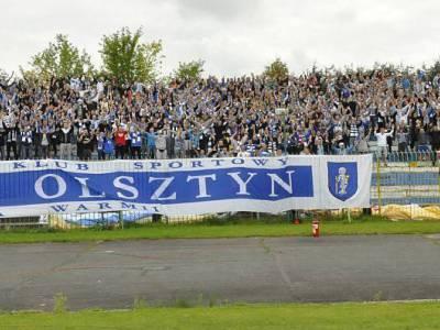Kibice na meczu Stomil Olsztyn - Zawisza Bydgoszcz