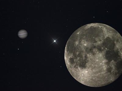 Księżyc, Jowisz i Gwiazda Polarna