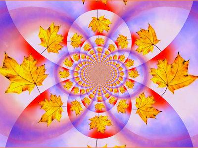 Liść jesienny w kalejdoskopie.