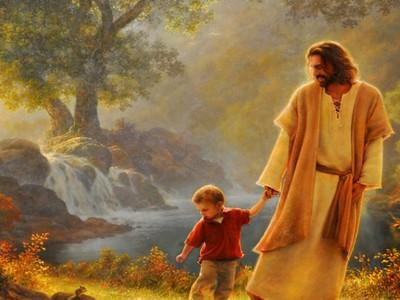 _jezus chlopczyk woda las