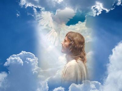 _jezus swiatlo chmury golab